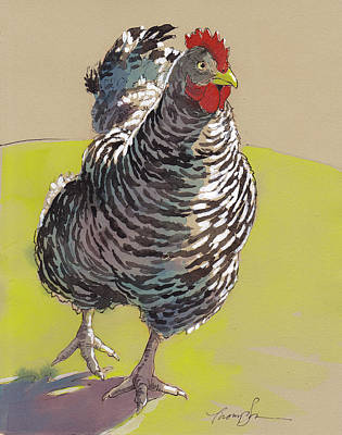Chickens Mixed Media - Bow Chicka Wowwow by Tracie Thompson