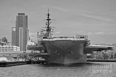 Photograph - Bow Of The Uss Midway Museum Cv 41 Aircraft Carrier - Black And White by Claudia Ellis