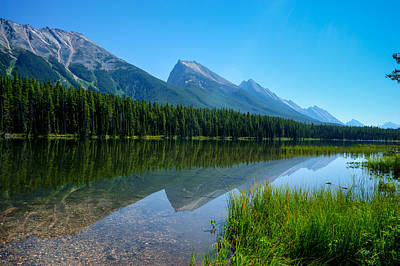 Chasm Lake Photograph - Bow River And Mountain Range Alberta by Douglas Barnett