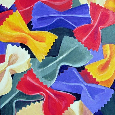Italian Kitchen Painting - Bow Ties Pasta  by Toni Silber-Delerive