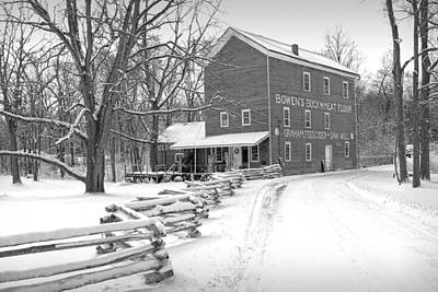 Bowen's Mill In Winter Art Print by Randall Nyhof