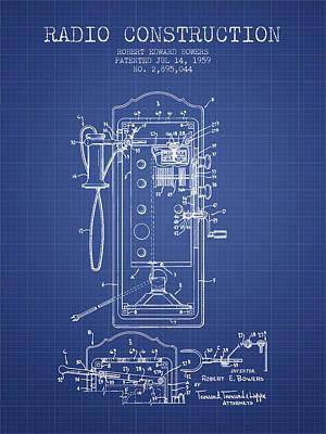 Bowers Radio Construction Patent From 1959 - Blueprint Art Print