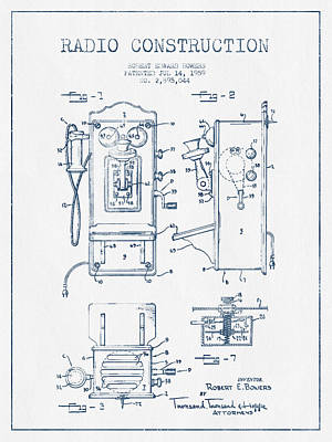 Bowers Radio Patent Drawing From 1959 - Blue Ink Art Print by Aged Pixel