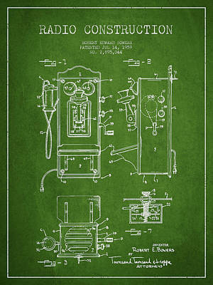 Bowers Radio Patent Drawing From 1959 - Green Art Print by Aged Pixel