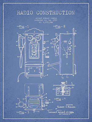 Bowers Radio Patent Drawing From 1959 - Light Blue Art Print by Aged Pixel