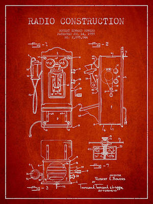 Bowers Radio Patent Drawing From 1959 - Red Art Print by Aged Pixel