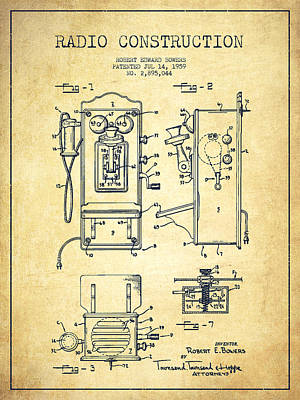 Bowers Radio Patent Drawing From 1959 - Vintage Art Print by Aged Pixel