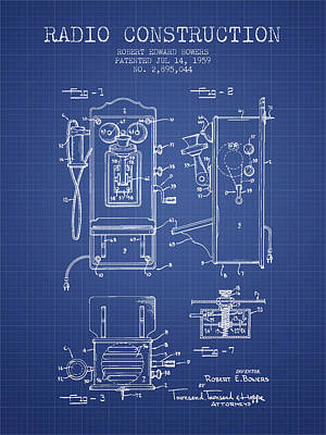 Bowers Radio Patent From 1959 - Blueprint Art Print by Aged Pixel
