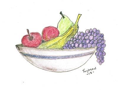 Life Drawing - Bowl Of Fruit by Dan Twyman