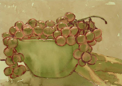 Painting - Bowl Of Grapes by Joe Schneider