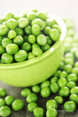 Pea Photograph - Bowl Of Green Peas by Elena Elisseeva