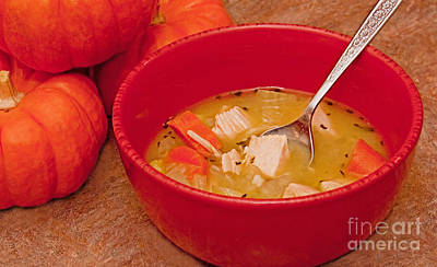 Photograph - Bowl Of Homemade Chicken Noodle Soup by Valerie Garner