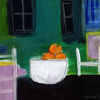 Living Room Art Painting - Bowl Of Oranges- Abstract Still Life Painting by Linda Woods