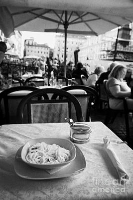 Bowl Of Spagetti Carbonara And Small Bowl Of Parmesan Cheese Sitting On A Table In A Street Cafe In The Piazza Navona Rome Lazio Italy Art Print