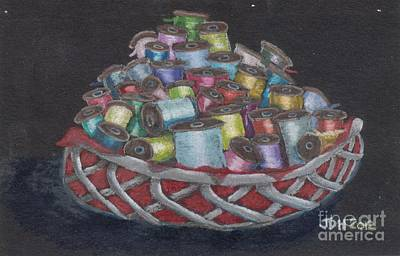 Wooden Bowls Drawing - Bowl Of Wooden Spools by Joseph Hawkins