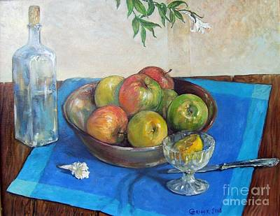 Blue Painting - Bowl With Apples by Grigor Malinov