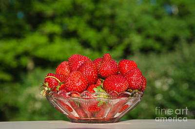 Photograph - Bowl With Fresh Strawberries At Green Background by Kennerth and Birgitta Kullman