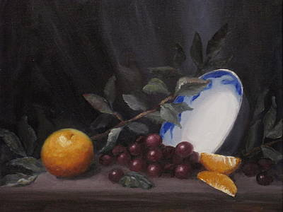 Bowl With Orange And Grapes Art Print by Ellen Ebert