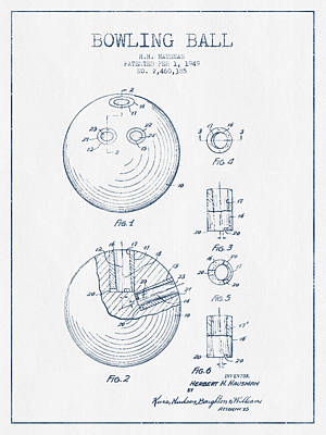 Bowling Ball Patent Drawing From 1949 - Blue Ink Art Print