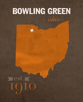 Harvard Mixed Media - Bowling Green State University Falcons Ohio College Town State Map Poster Series No 021 by Design Turnpike
