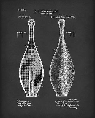 Drawing - Bowling Pin 1895 Patent Art Black by Prior Art Design
