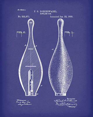 Drawing - Bowling Pin 1895 Patent Art Blue by Prior Art Design