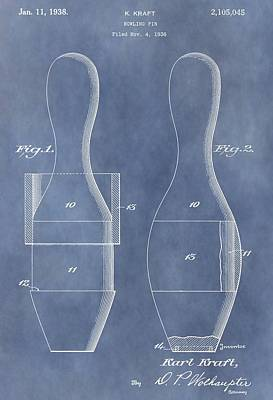 Bowling Pin Patent Art Print by Dan Sproul