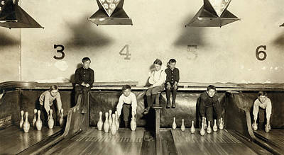 Photograph - Bowling Pinsetter Boys 1909 by Daniel Hagerman