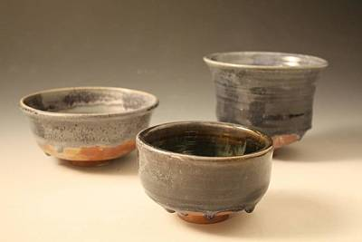 Reduction-fired Ceramic Art - Bowls In Blue by Lauren Crawford