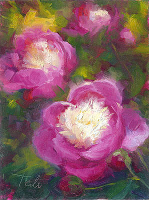 Oil Painting - Bowls Of Beauty - Alaskan Peonies by Talya Johnson