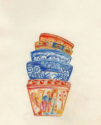 Tableware Drawing - Bowls by Tamyra Crossley