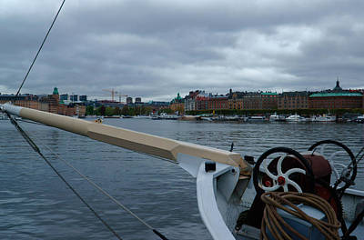 Photograph - bowsprit over Strandvagen by Evgeny Lutsko