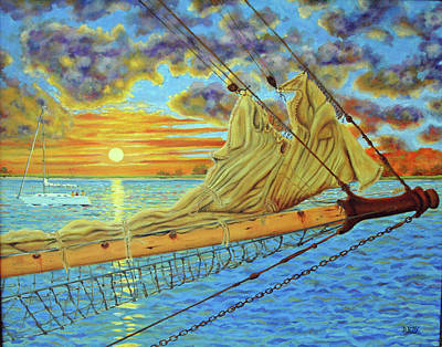 Art Print featuring the painting Bowsprit Over The Ashley River by Dwain Ray