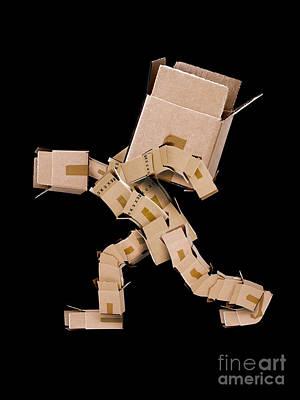 Box Character Carrying Large Box Art Print by Simon Bratt Photography LRPS