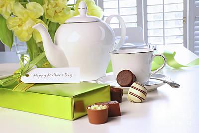 Photograph - Box Of Chocolates On Table With Tea Set  by Sandra Cunningham