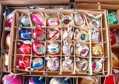 Box Of Vintage Ornaments Art Print by Mark Barclay