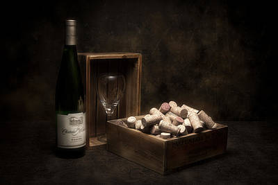 Wineglasses Photograph - Box Of Wine Corks Still Life by Tom Mc Nemar