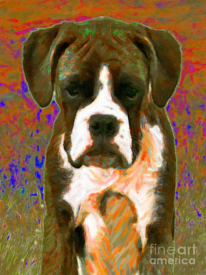Boxer Puppy Digital Art - Boxer 20130126v1 by Wingsdomain Art and Photography
