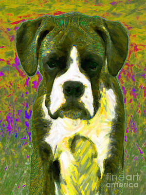 Boxer Puppy Digital Art - Boxer 20130126v2 by Wingsdomain Art and Photography