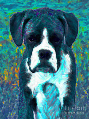 Boxer Puppy Digital Art - Boxer 20130126v4 by Wingsdomain Art and Photography