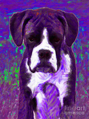 Boxer Dog Digital Art - Boxer 20130126v6 by Wingsdomain Art and Photography