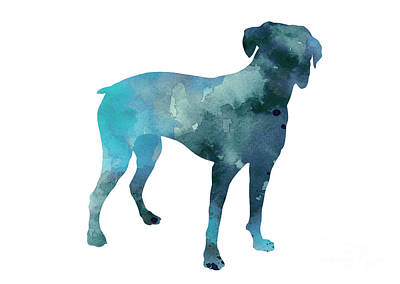 Boxer Abstract Art Painting - Boxer Art Silhouette Turquoise Print by Joanna Szmerdt