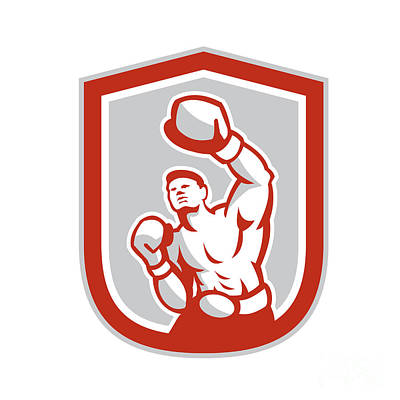 Muscular Digital Art - Boxer Boxing Punching Jabbing Circle Retro by Aloysius Patrimonio