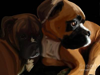 Puppies Digital Art - Boxer Brothers by Christina Kulzer