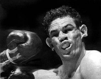 Boxer Catches A Left Hook Print by Underwood Archives