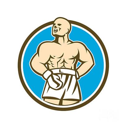 Sportsman Digital Art - Boxer Champion Shouting Circle Retro by Aloysius Patrimonio