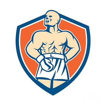 Boxer Digital Art - Boxer Champion Shouting Shield Retro by Aloysius Patrimonio