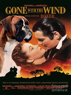 Boxer Art Painting - Boxer Dog Art Canvas Print - Gone With The Wind Movie Poster by Sandra Sij