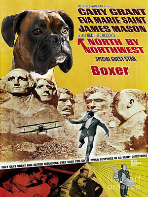 Boxer Art Painting - Boxer Dog Art Canvas Print - North By Northwest Movie Poster by Sandra Sij
