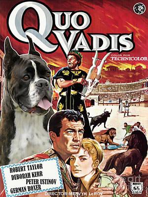 Boxer Painting - Boxer Dog Art Canvas Print - Quo Vadis Movie Poster by Sandra Sij